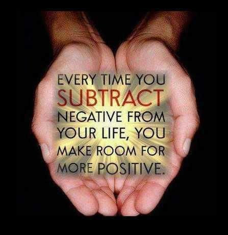 Every time you subtract negative from your life, you make room for more POSITIVE. emilysjoycoaching.com