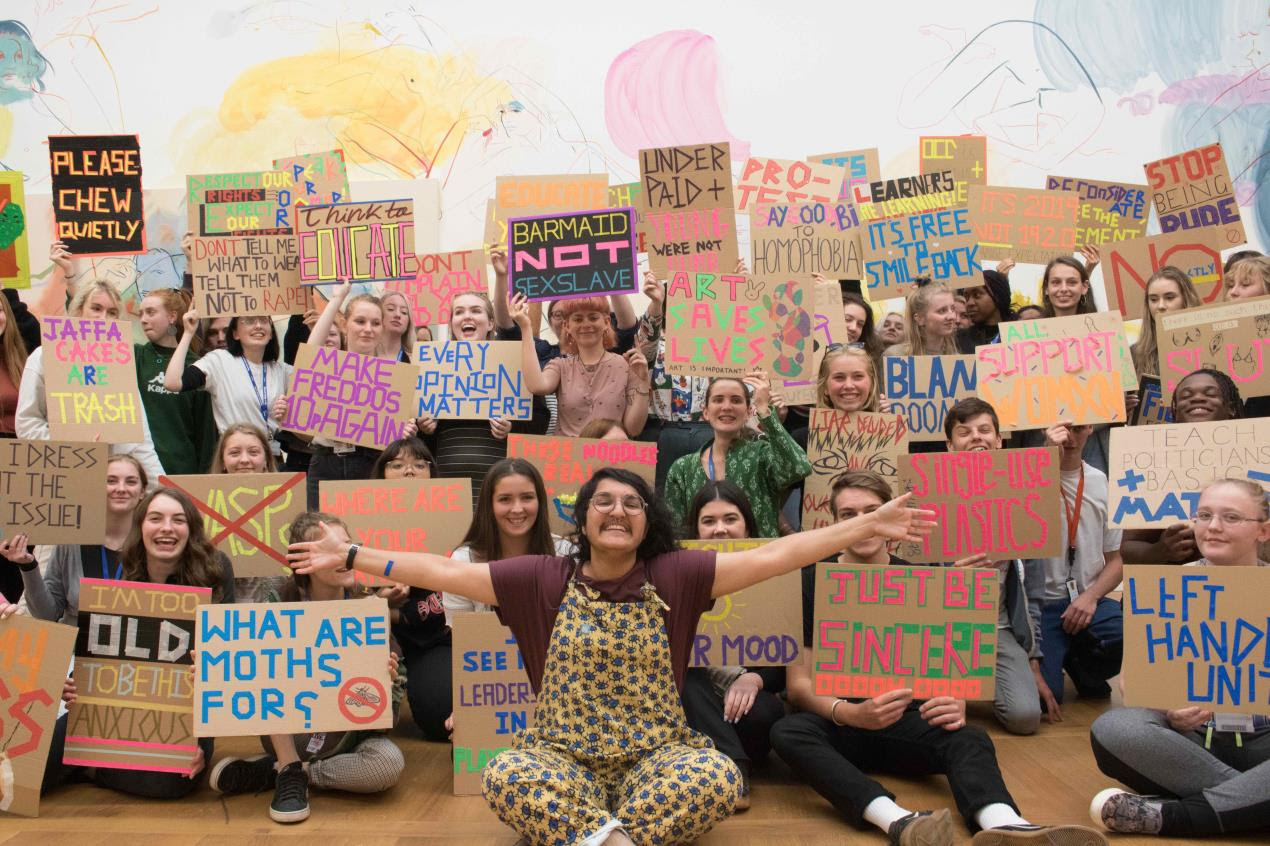 Students from Plymouth College of Art protest at Tate Britain with artist Soofiya