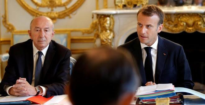 Fotografía de archivo de Emmanuel Macron y Gerard Collomb. - REUTERS
