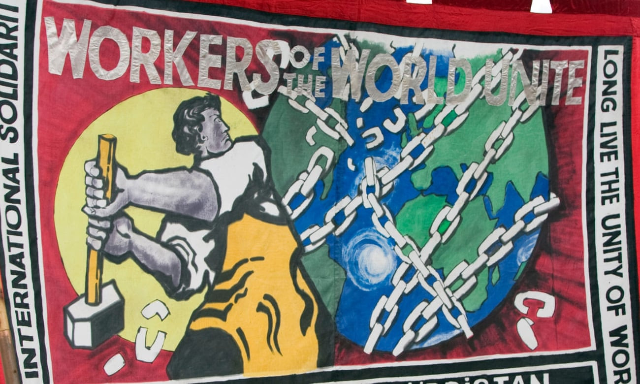 Workers of the World Unite banner
