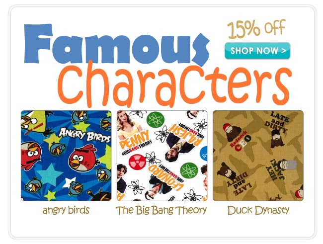 15% off Famous Cartoon, TV and Book Characters