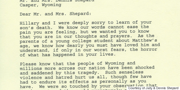 Letters From Clinton, Mrs. King To Matthew Shepard's Parents Released For The First Time