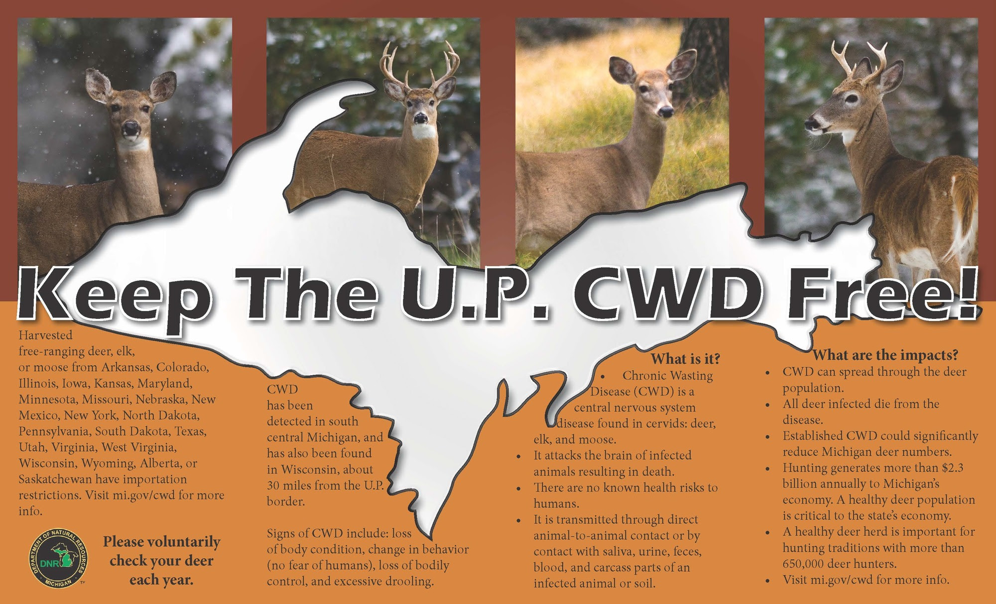 """A """"Keep the U.P. CWD Free"""" table tent distributed by hunting groups in the Upper Peninsula to help inform their membership about CWD."""