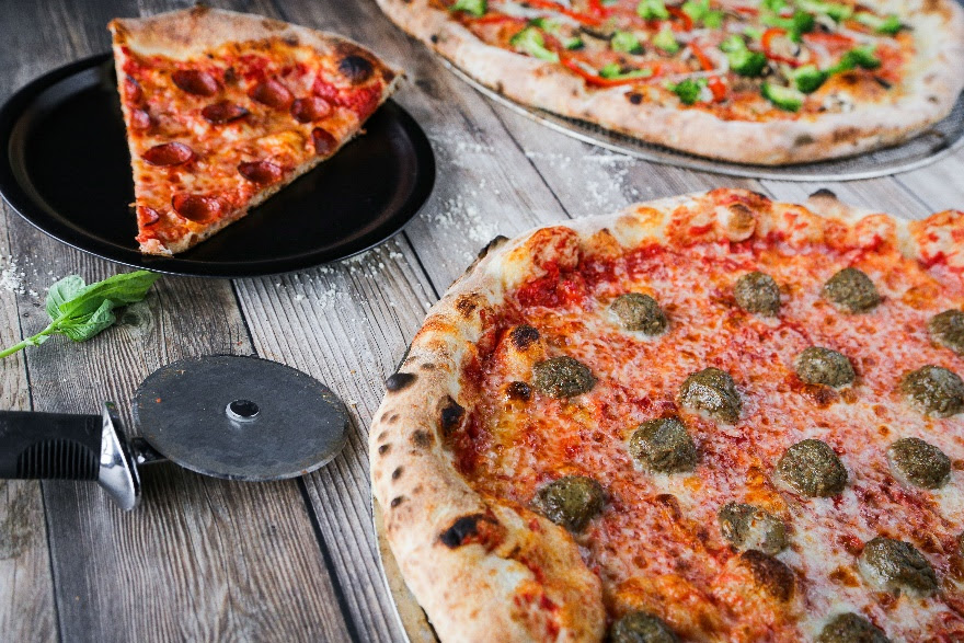 Pepperoni, Vegetable and Meatball pizzas – a slice of what's available at PizzaCake by Buddy V. at Harrah's Las Vegas