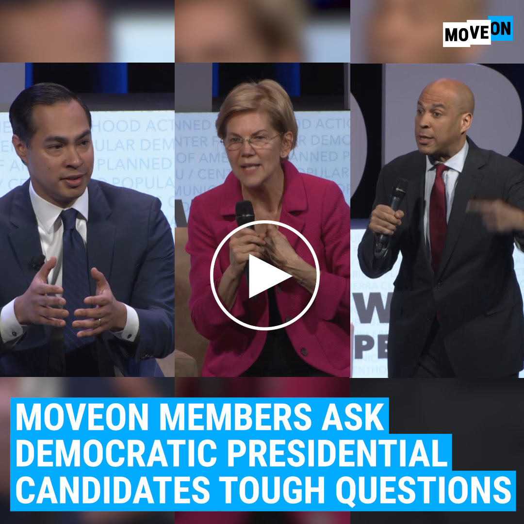 Video of the 2020 candidates addressing MoveOn members' questions