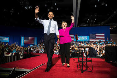 President Obama and Hillary Clinton campaigning in Charlotte, N.C., on Tuesday.