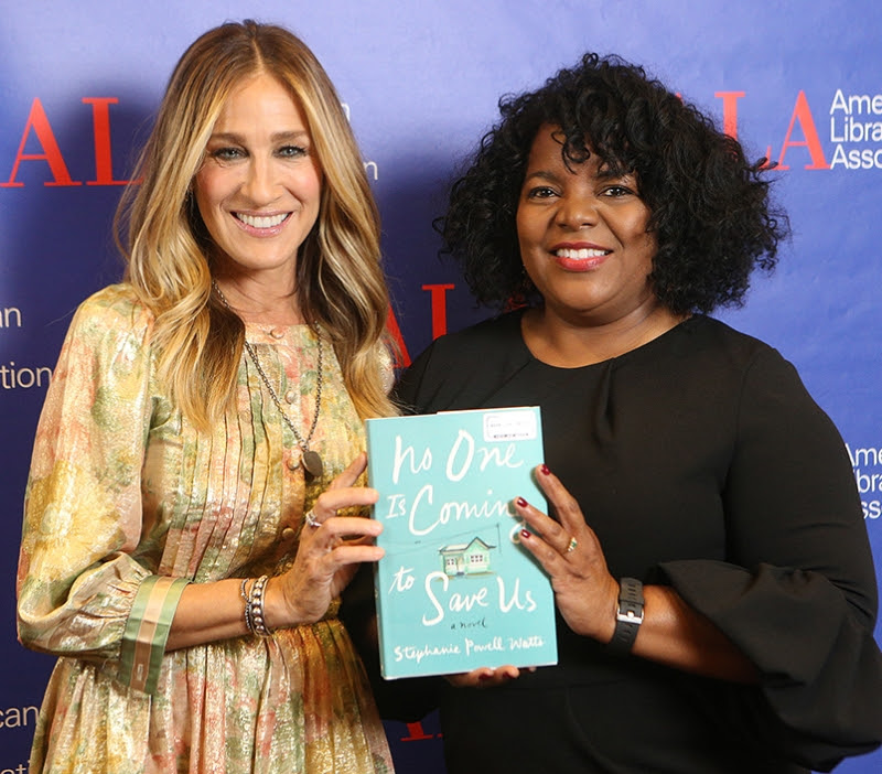 Sarah  Jessica Parker with author Stephanie Powell Watts and book: No One Is Coming to  Save Us