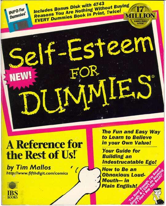 "cover of fake book ""Self esteem for dummies"""