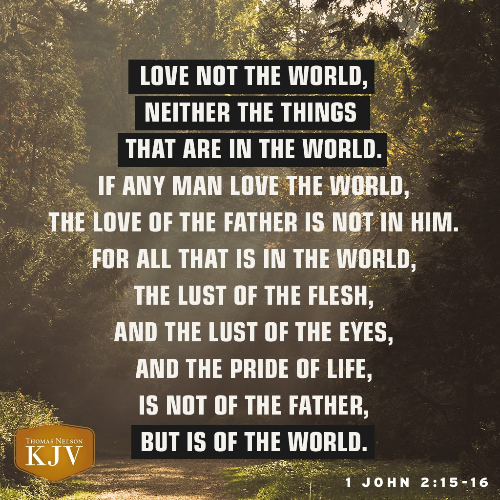 15 Love not the world, neither the things that are in the world. If any man love the world, the love of the Father is not in him.  16 For all that is in the world, the lust of the flesh, and the lust of the eyes, and the pride of life, is not of the Father, but is of the world. 1 John 2:15-16