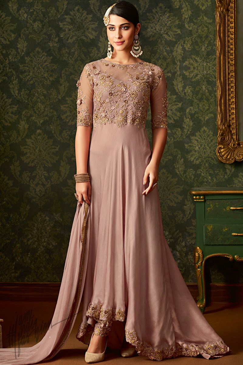 Rose Taupe Georgette and Net Party Wear Asymmetrical Suit