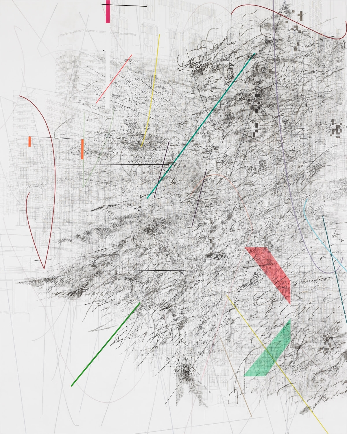 Julie Mehretu, Mogamma (A Painting in Four Parts) (1 of 4), 2012.