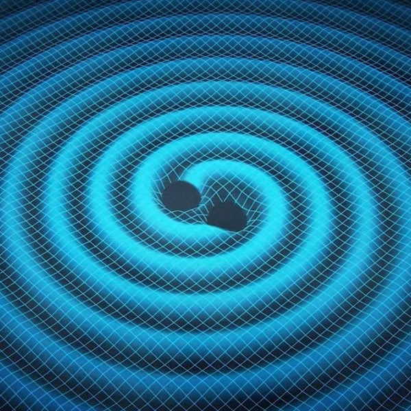 Gravitational waves are created in some of the most violent events in our universe, such as the merger of two black holes.  one.Image via Swinburne Astronomy Productions / NASA JPL.