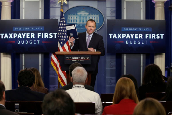 Mick Mulvaney, the White House budget director, on Tuesday in the press briefing room at the White House.