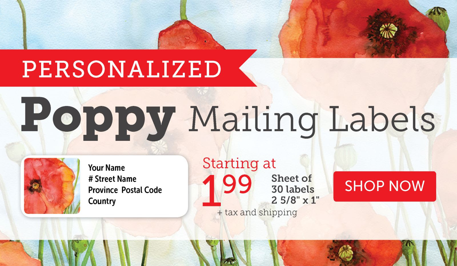 Personalized Poppy Mailing Labels