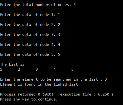 searching in linked list recursively