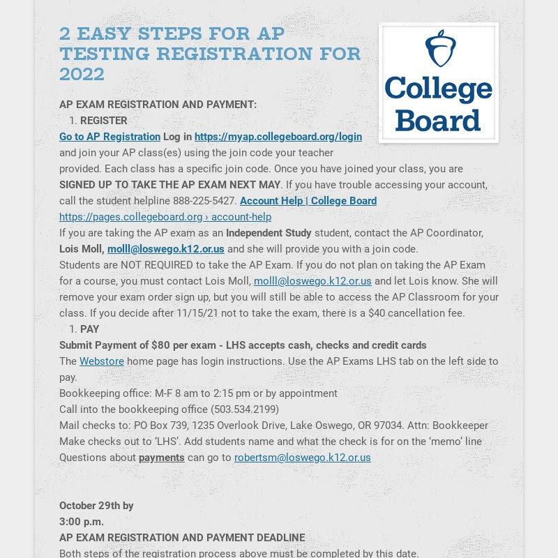 2 EASY STEPS FOR AP TESTING REGISTRATION FOR 2022 AP EXAM REGISTRATION AND PAYMENT: REGISTER Go...