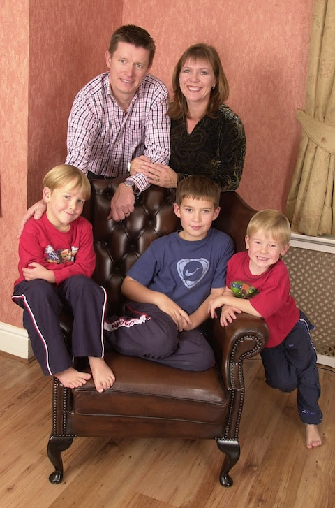 Richard Mason with his ex wife and the three sons he has discovered are not his
