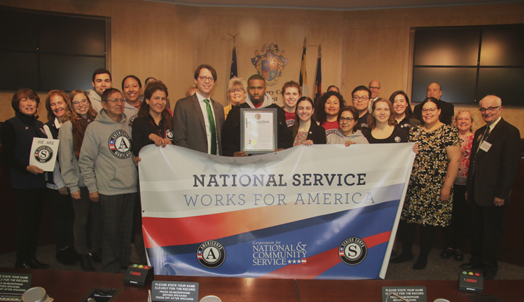 The Montgomery County Maryland Council presents a proclamation recognizing AmeriCorps service