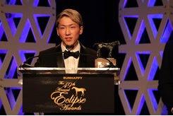 Jockey Kazushi Kimura accepts the 2019 Eclipse Award as outstanding apprentice jockey at a ceremony at Gulfstream Park