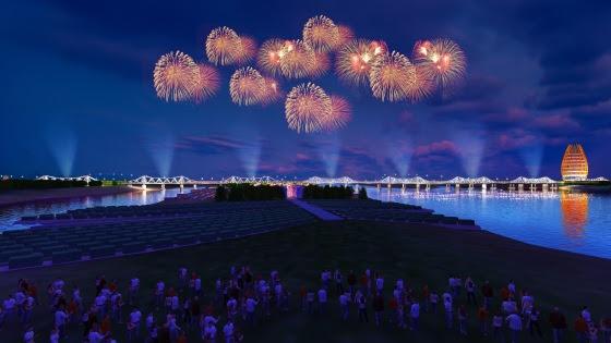 Toàn cảnh cầu Long Biên trong tương lai nhìn từ Bãi giữa Sông Hồng