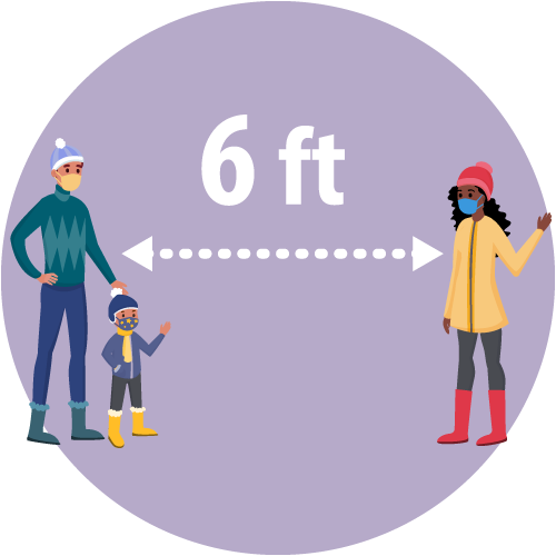 illustration of a person and child wearing masks standing six feet apart from a young woman wearing a mask