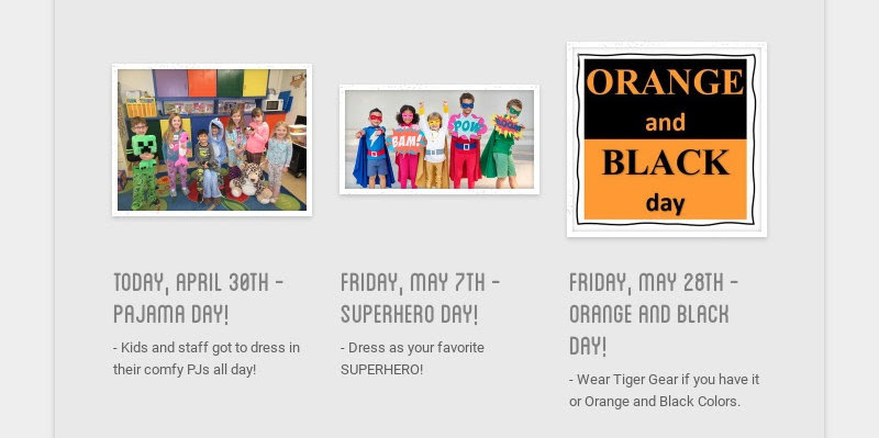 today, april 30th - pajama day!                         - Kids and staff got to dress in their comfy PJs all day!...