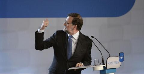 Mariano Rajoy, durante un mitin en Barcelona. AFP