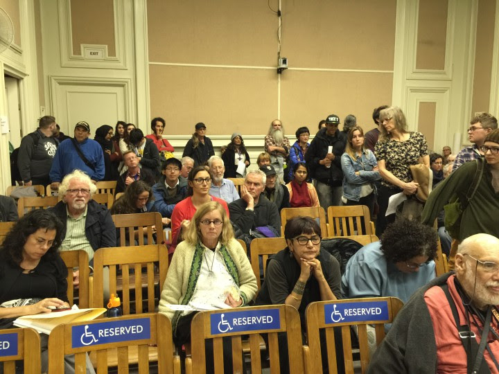 At 10:30 pm, dozens of people were still lined up to address the city council about proposed homeless laws. The testimony went on until around midnight. Council adjourned at 12:40 a.m. Photo: Frances Dinkelspiel