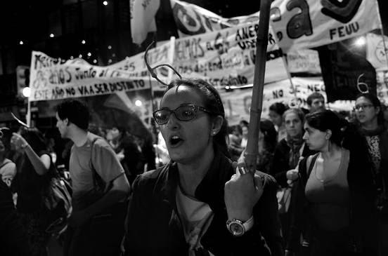 Movilización de la Feuu, ayer en 18 de Julio .Foto: Pablo Vignali