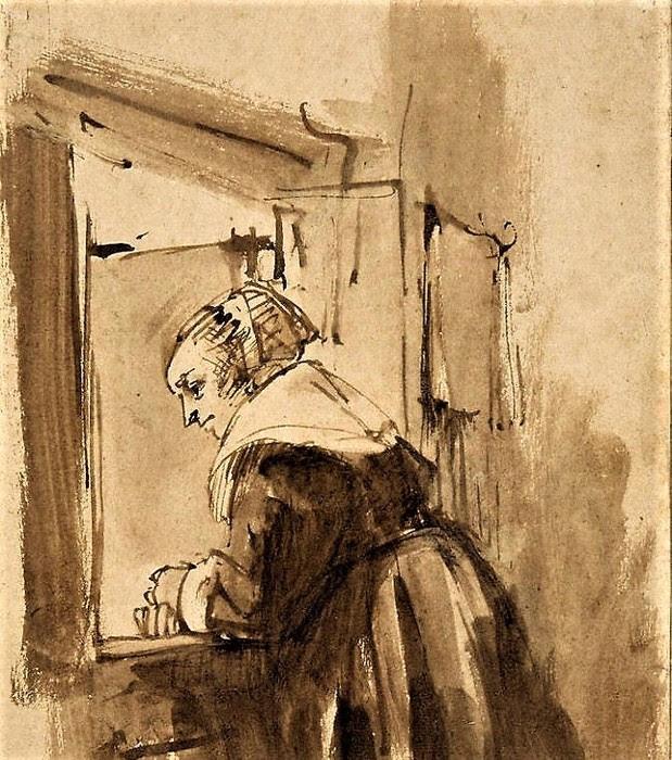 Рембрандт ван Рейн, «Женщина, глядящая в окно» (619x700, 161Kb)