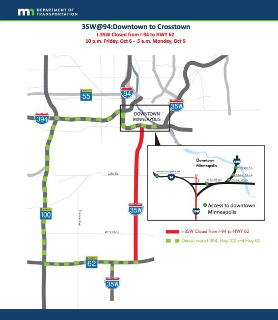 Weekend closure detour map