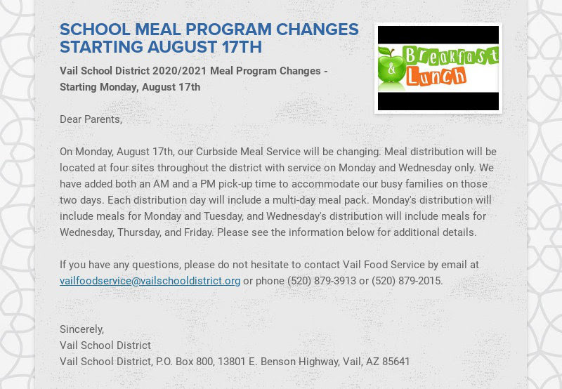SCHOOL MEAL PROGRAM CHANGES STARTING AUGUST 17TH Vail School District 2020/2021 Meal Program...
