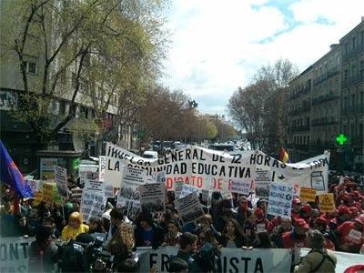 Manifestación estudiantil en Madrid, en el segundo día de huelga en la enseñanza. V. U.