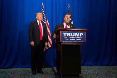 Gov. Chris Christie of New Jersey endorsed Donald J. Trump in Fort Worth on Feb. 26.