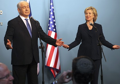 Hard day of diplomacy  ... Benjamin Netanyahu and Hillary Clinton during a news conference in Jerusalem on Saturday.