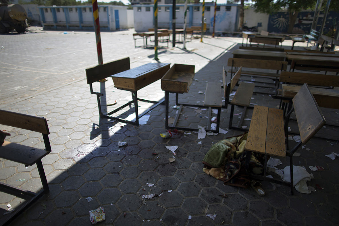 A trail of blood is seen in the courtyard of a UN School in Beit Hanoun after it was hit by an Israeli tank shell