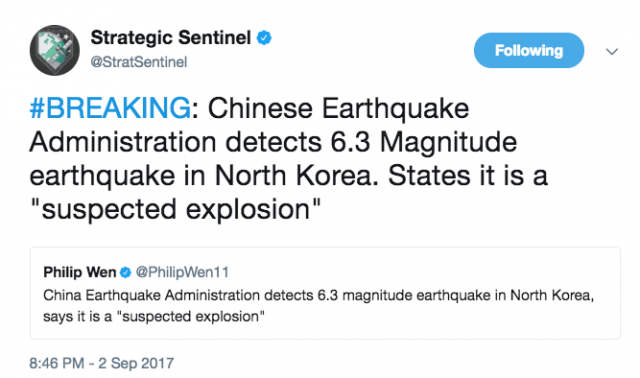 6th Nuclear Test Confirmed by North Korea State TV - Chinese Earthquake Administration Detects 6.3 Magnitude Earthquake in North Korea (Video)