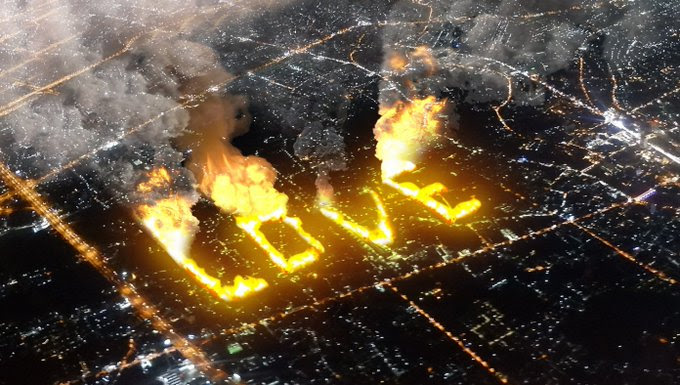"""fires that spell the word """"LOVE"""""""