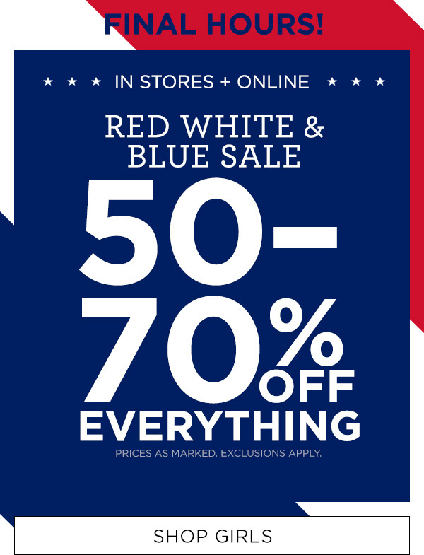 50-70% Off Everything Shop Girls