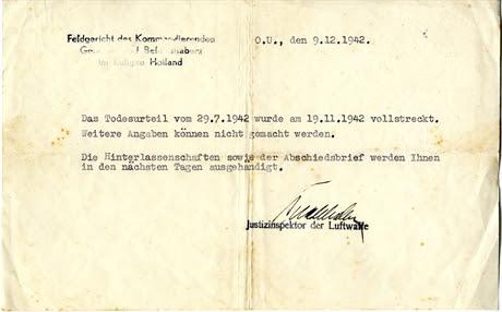 Bericht van executie, 9 december 1942