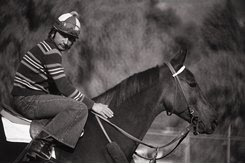 John Henry with his exercise rider, Lewis Cenicola