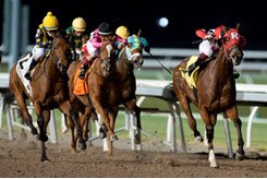 Artie's Princess (inside) wins the Bessarabian Stakes at Woodbine