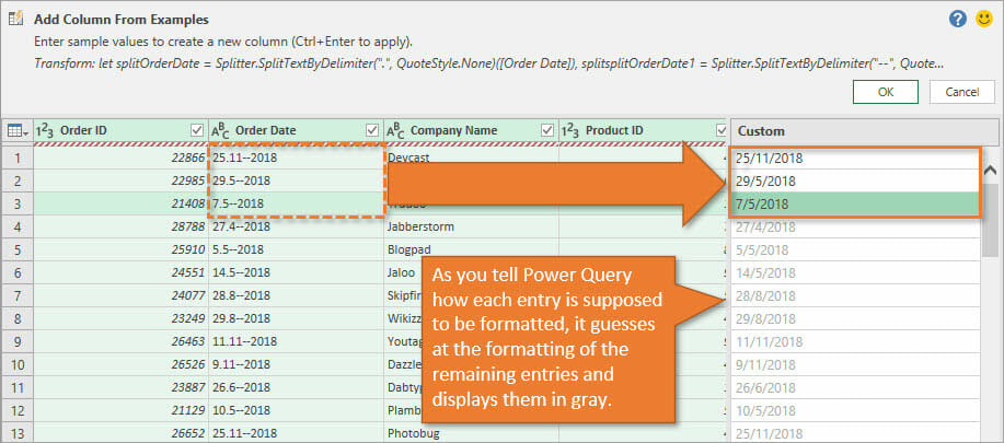 Column From Examples in Power Query