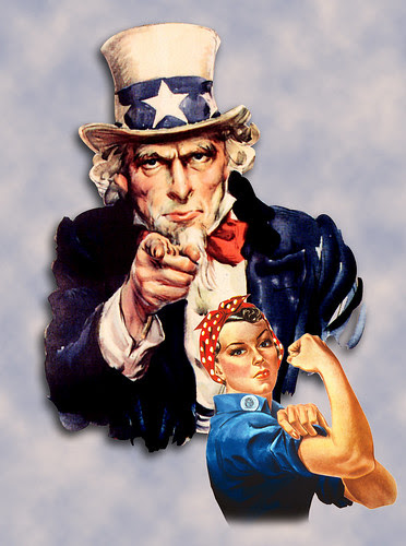 Patriotic Uncle Sam & Rosie the Riveter together, add your own custom message.