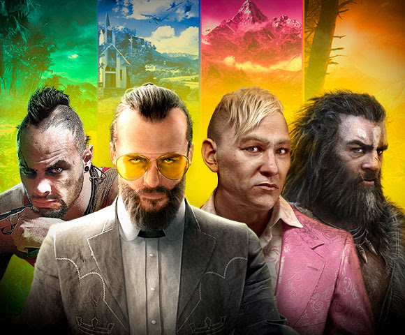 Four characters from Far Cry paired with their environments behind them