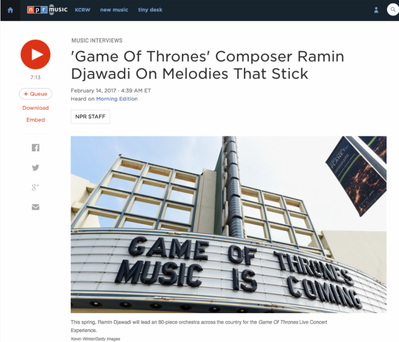 Icymi Ramin Djawadi Discusses The Upcoming Game Of Thrones Live Concert Experience On Npr S