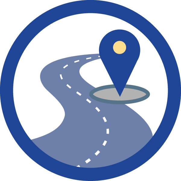 blue circle with an illustration of a road inside and a destination marker