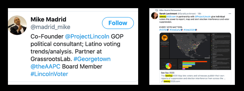 The Lincoln Project encourages voters to report obstacles  with SeeSay2020. Reports  include location, time,   photos, videos and links to details.
