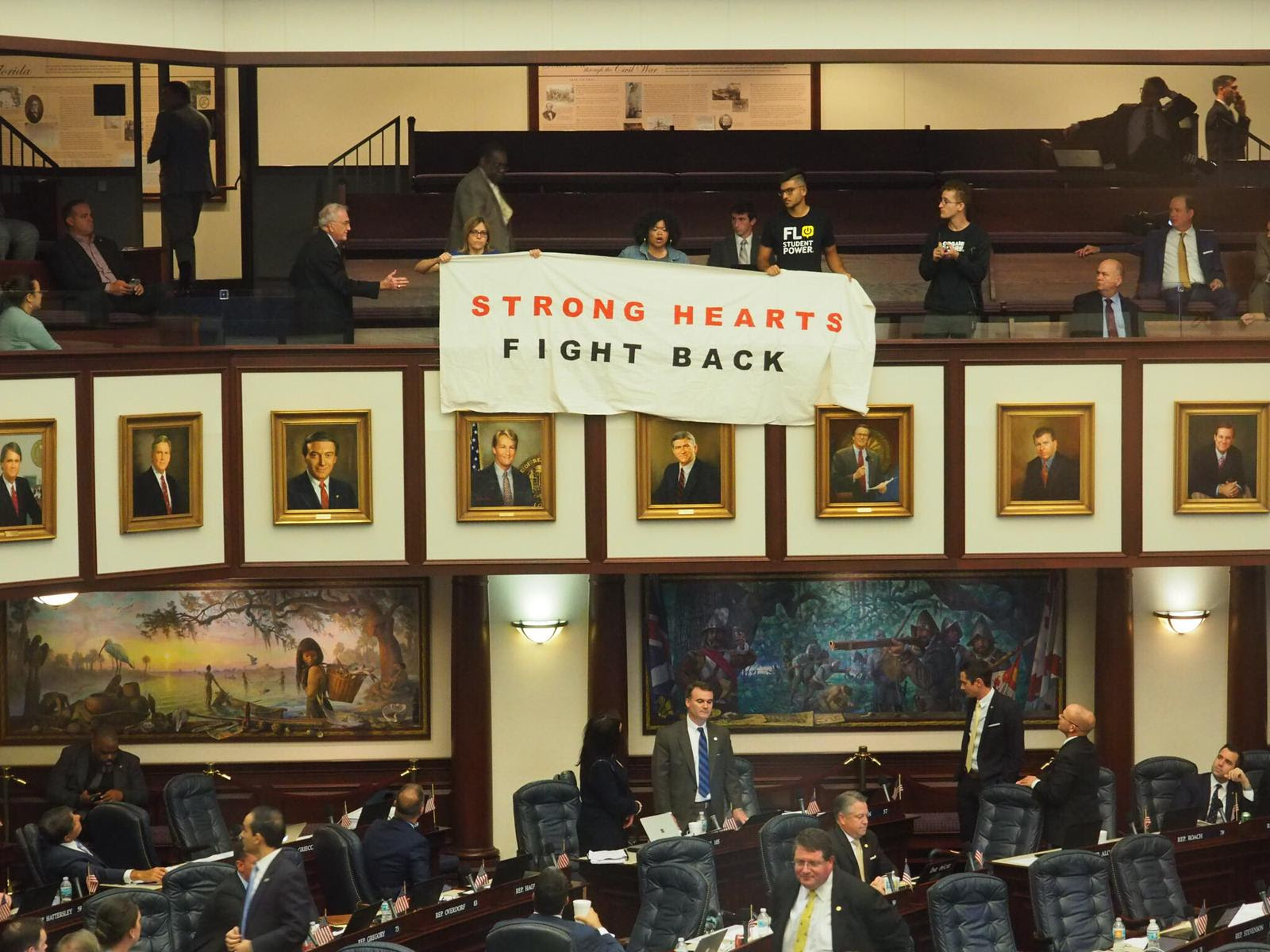 Strong hearts banner at the Capitol