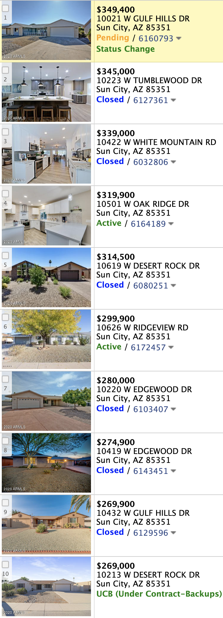 10214 W Edgewood Dr, Sun City AZ 85351 comps list